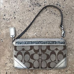 Coach Wristlet w/ silver & gold accents